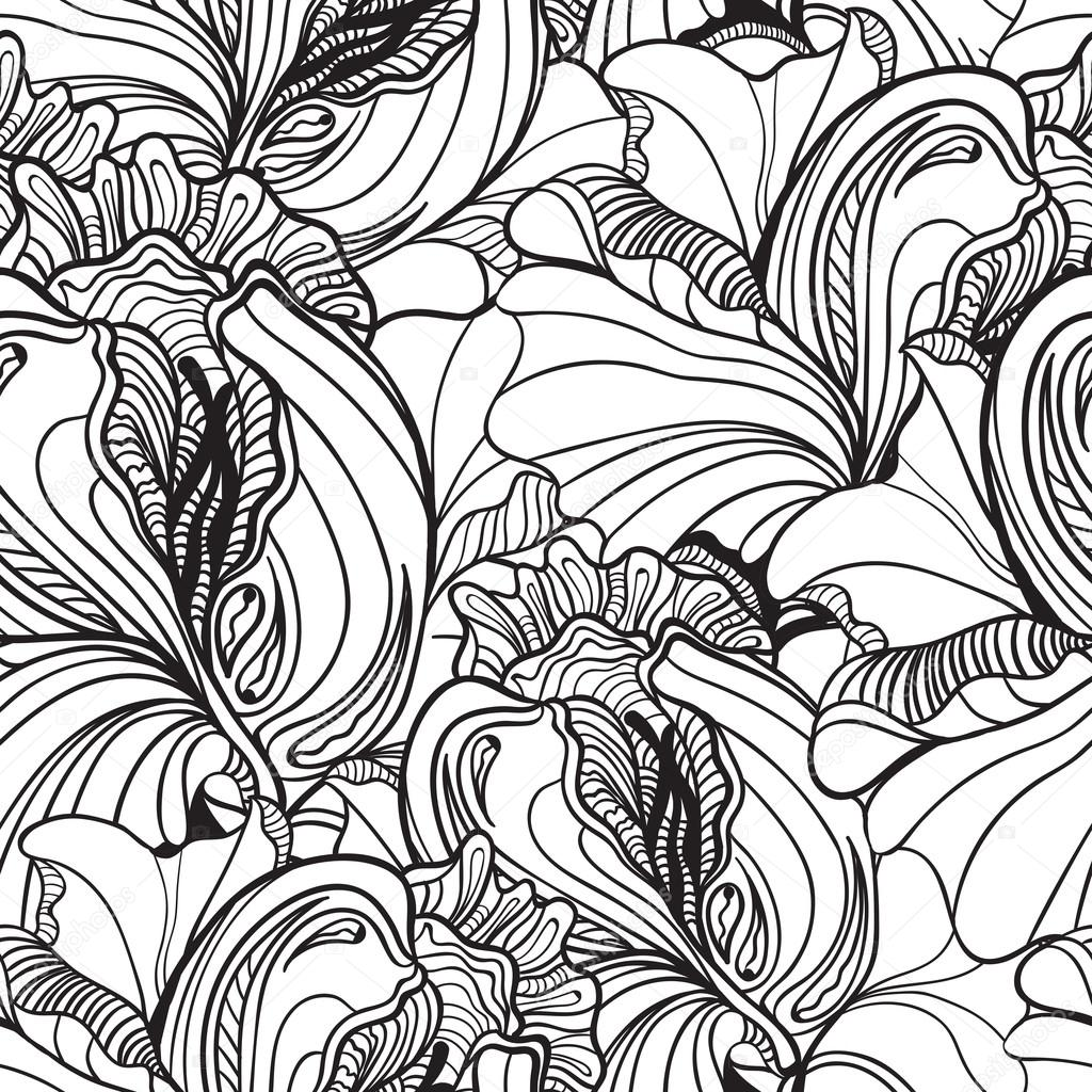 Seamless floral doodle background pattern