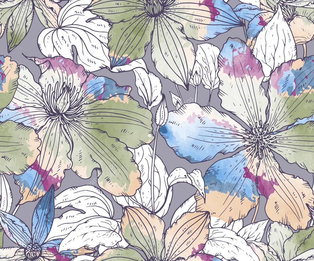 Floral seamless pattern with hand drawn clematis flowers
