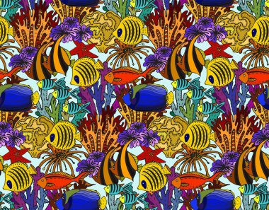 Vector colorful seamless sea pattern with tropical fishes