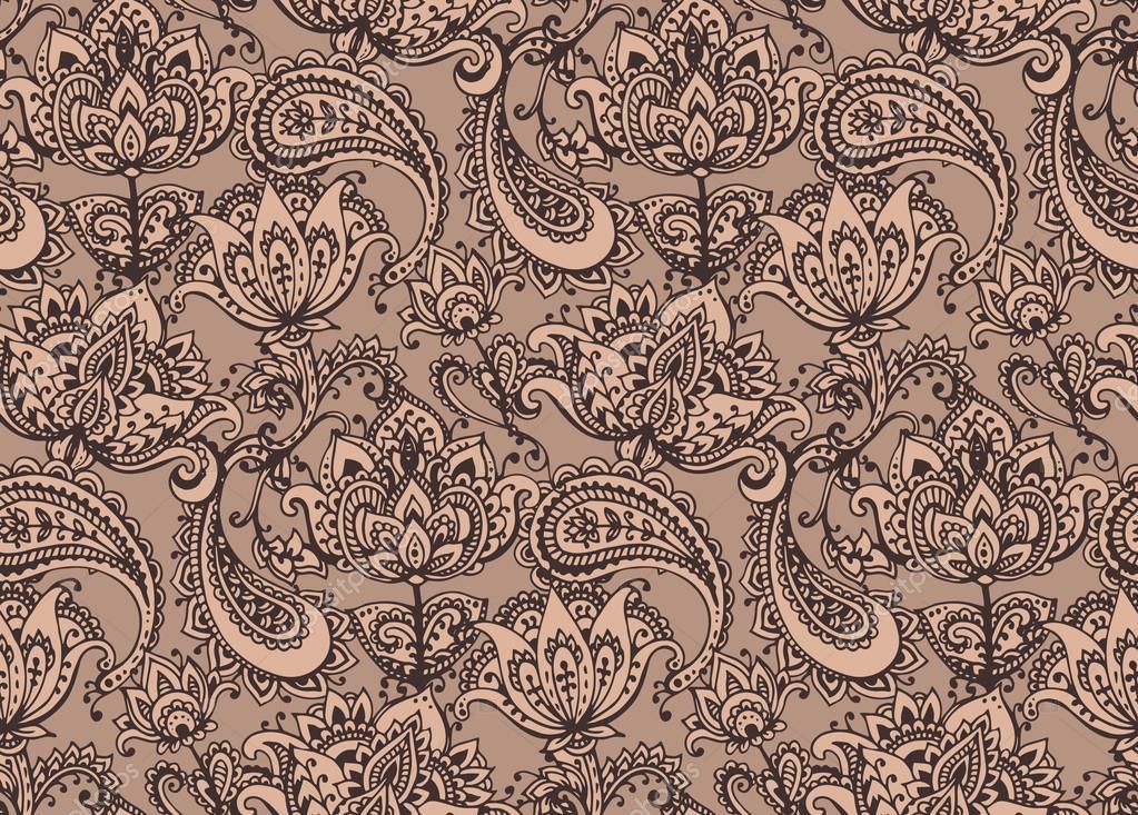 Henna Mehndi Vector : Vector seamless pattern with hand drawn henna design elements