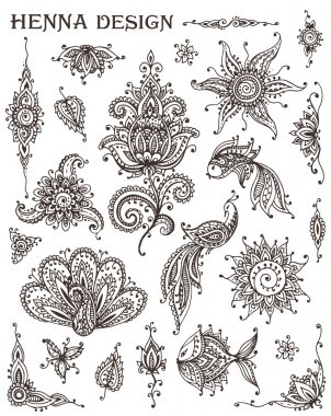 Vector Set of henna floral and animal elements based on traditio