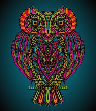 Colorful vector hand drawn ornate  owl in zentangle style