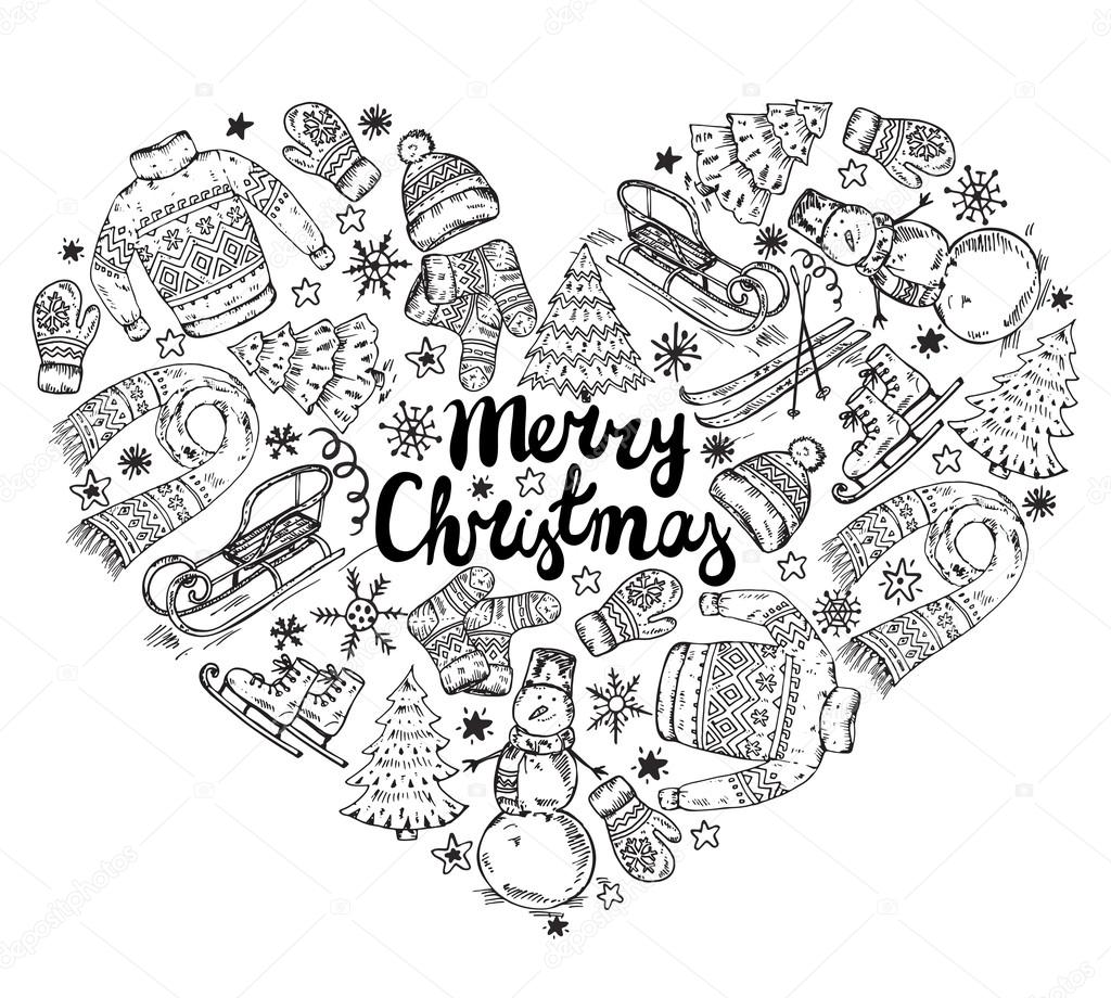 314cb27c78b7 Set of vector hand drawn winter holiday elements in heart form ...
