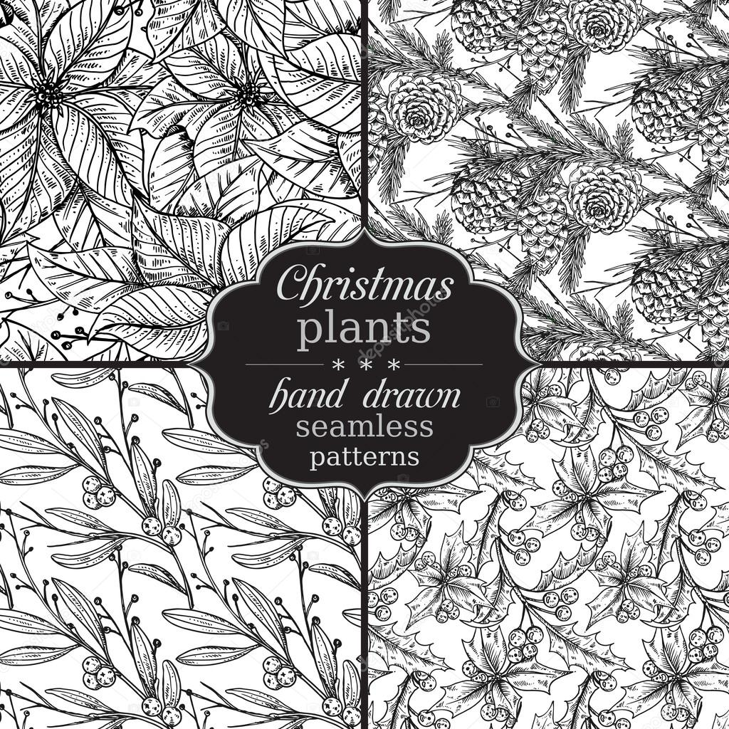 Set of four Vector seamless patterns with hand drawn winter plan