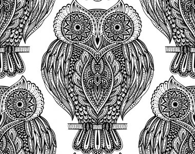 Colorful vector seamless pattern with owls on branches