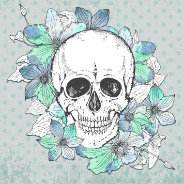 Vector illustration with hand drawn human skull, clematis flower