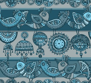 Seamless pattern with hand drawn fancy birds in ethnic style