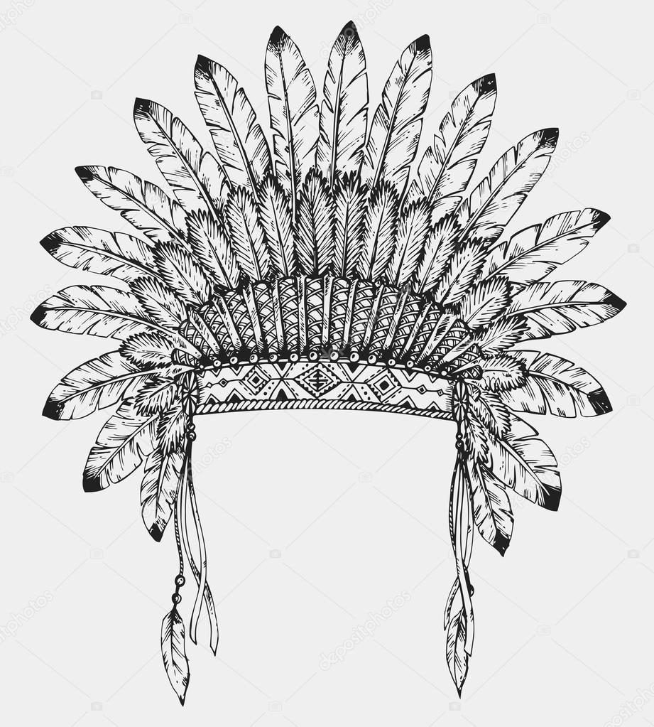 Native American Indian Headdress With Feathers In Sketch Style