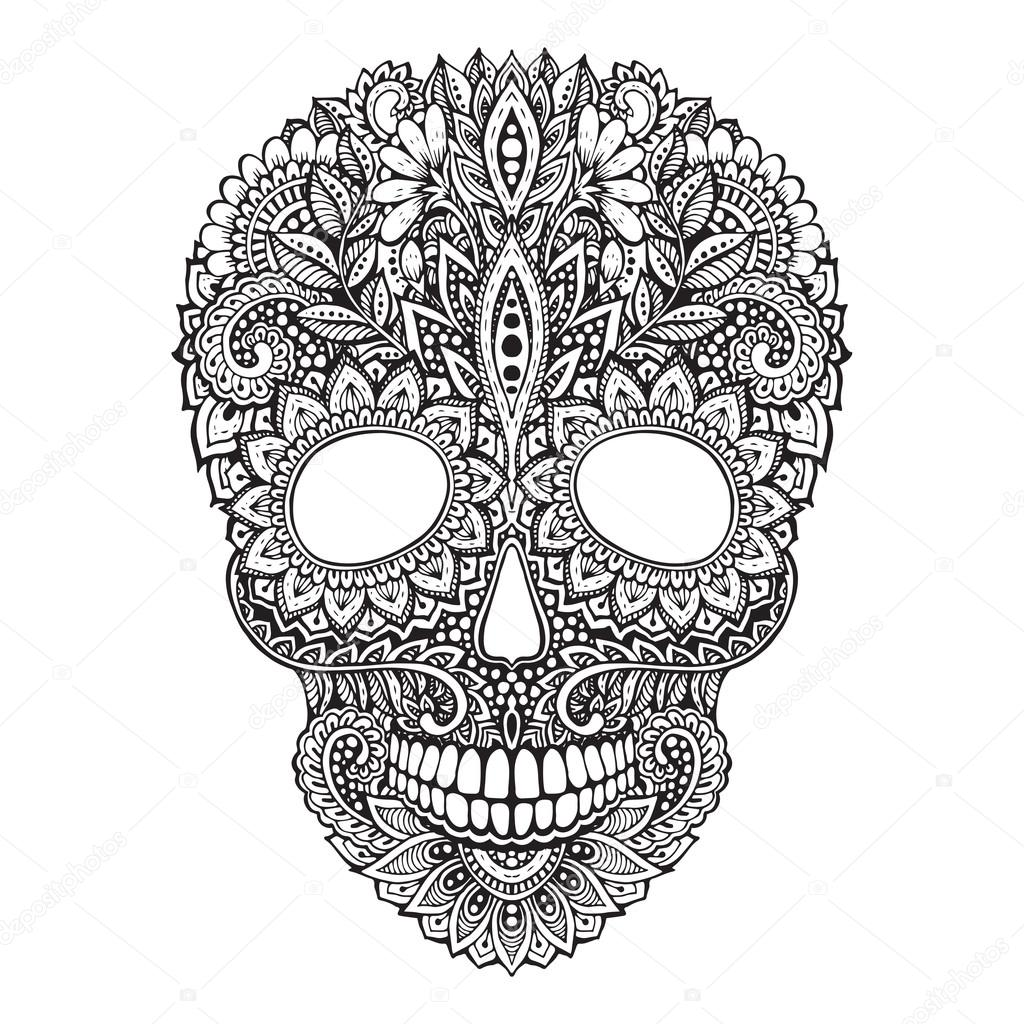 Hand drawn illustration of human skull in ornate zentangle style