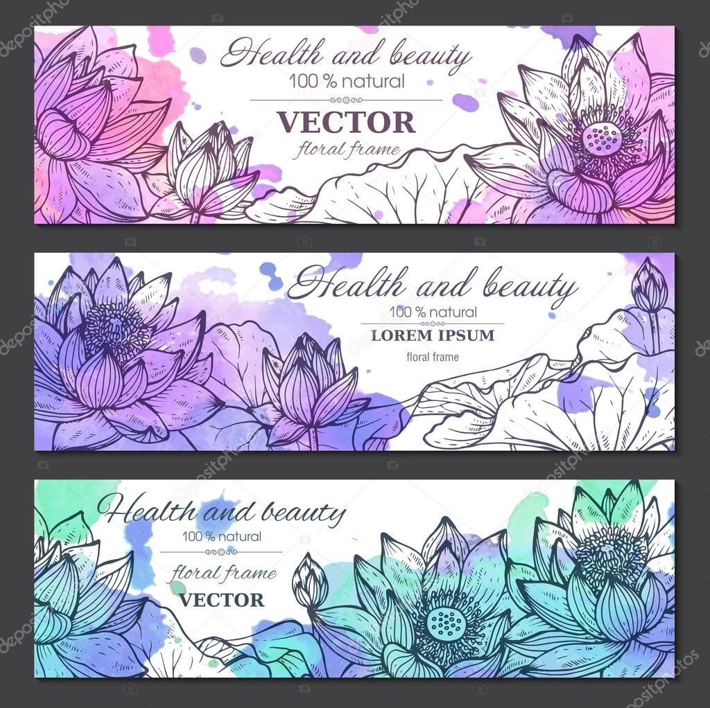 Set of three horizontal banners with beautiful lotus flowers