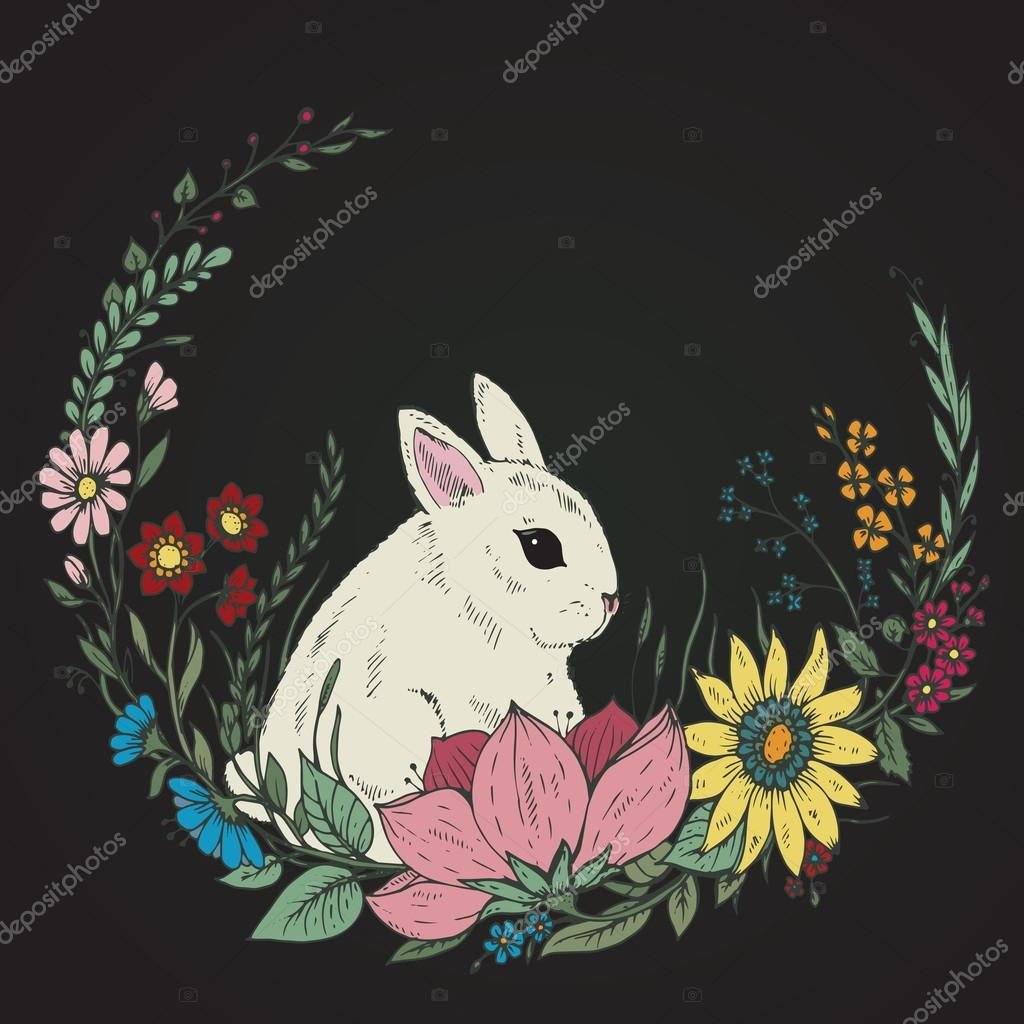 Cute hand drawn Rabbit with wreath of flowers and leaves