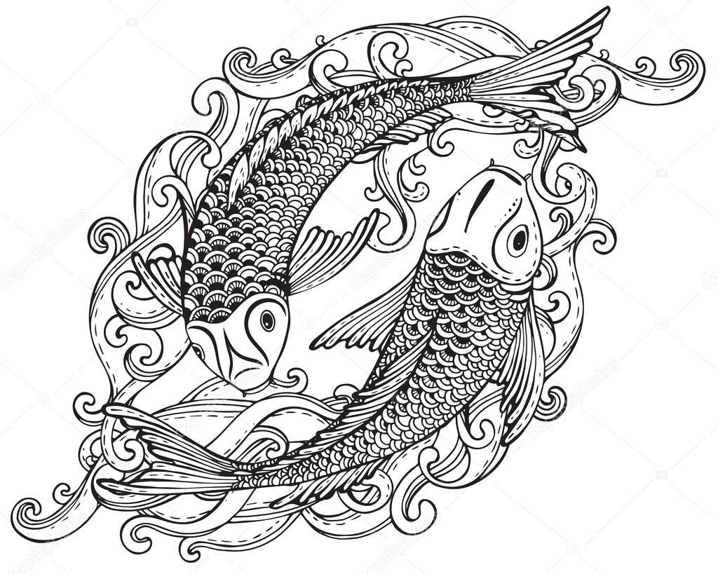 Line Drawing In Html : Hand drawn vector illustration of two koi fishes japanese