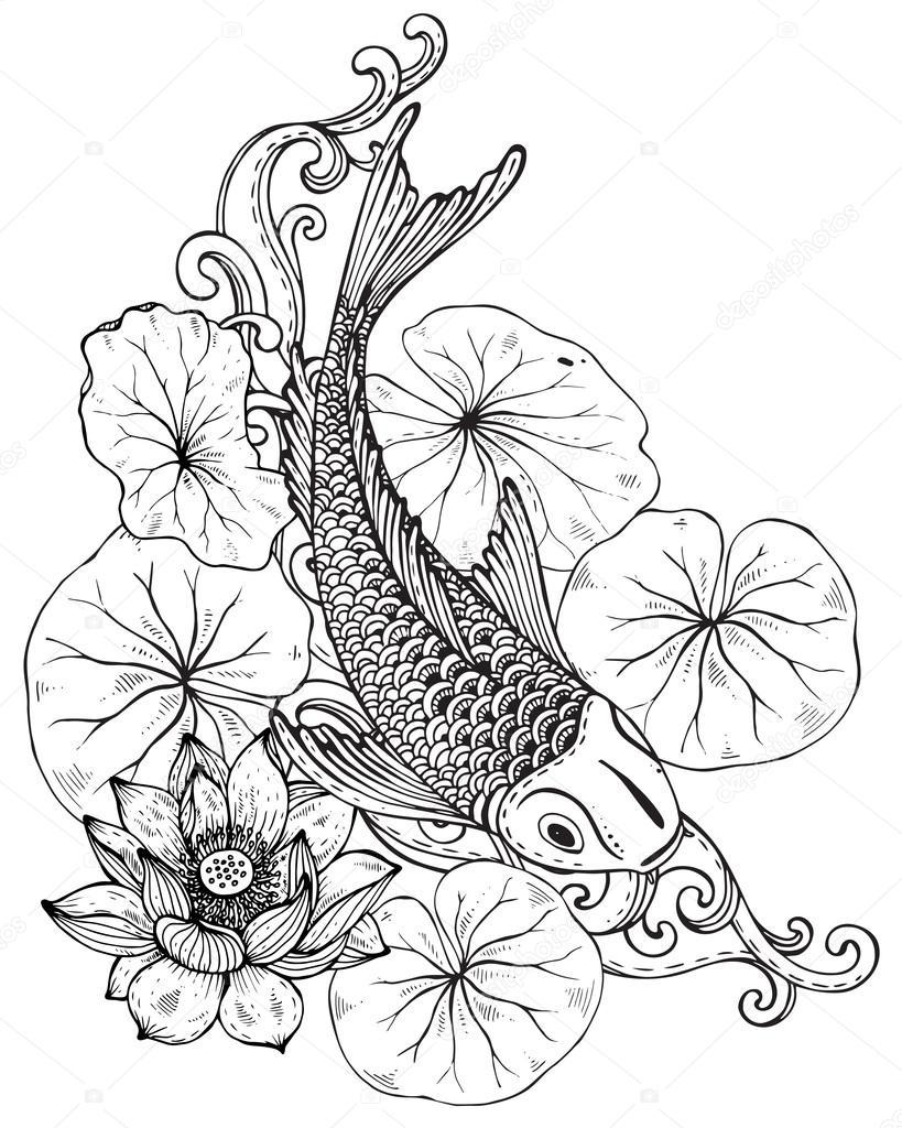 Mano dibuja la ilustración de vector de peces Koi con flor de loto ...