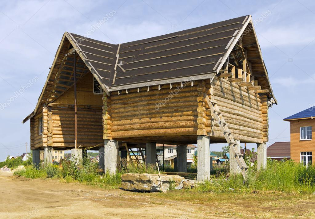 Delightful Construction A Wooden House On Stilts U2014 Stock Photo