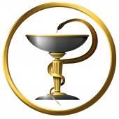 Fotografie Symbol der Medizin Schlange Metall Gold und Silber