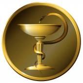 Medizin-Schlange-Symbol. Metall Gold oder bronze.