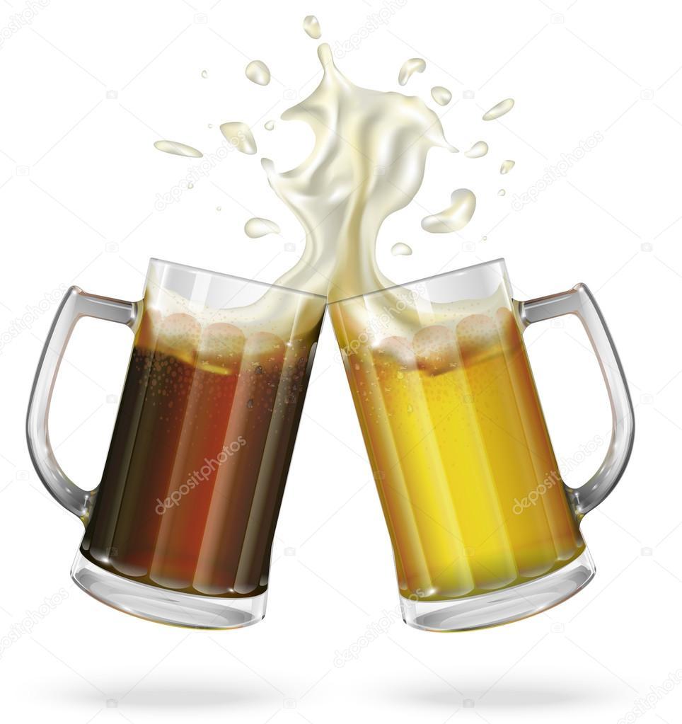 Dos jarras de cerveza con cerveza vector de stock for Jarras para cerveza