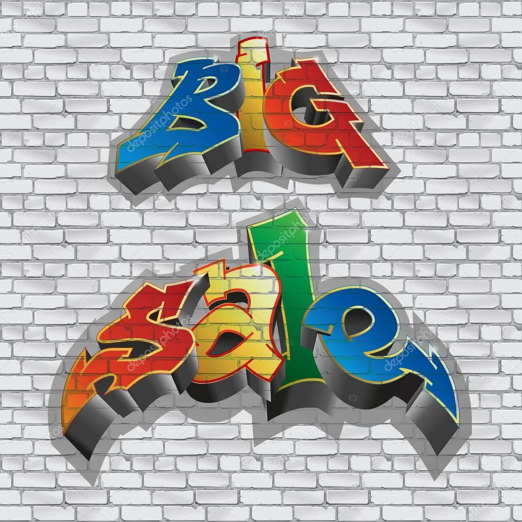 Big sale graffiti style sale inscription urban art brick wall gray