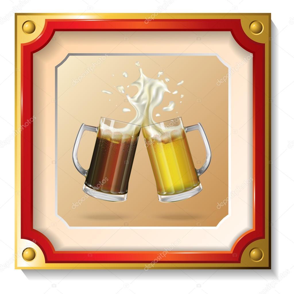 Dos tazas de cerveza en el marco de la — Archivo Imágenes ...