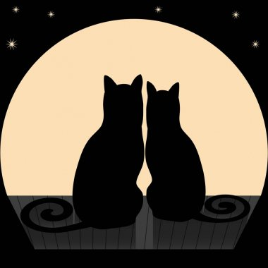 Vector illustration of two cats on a roof stock vector