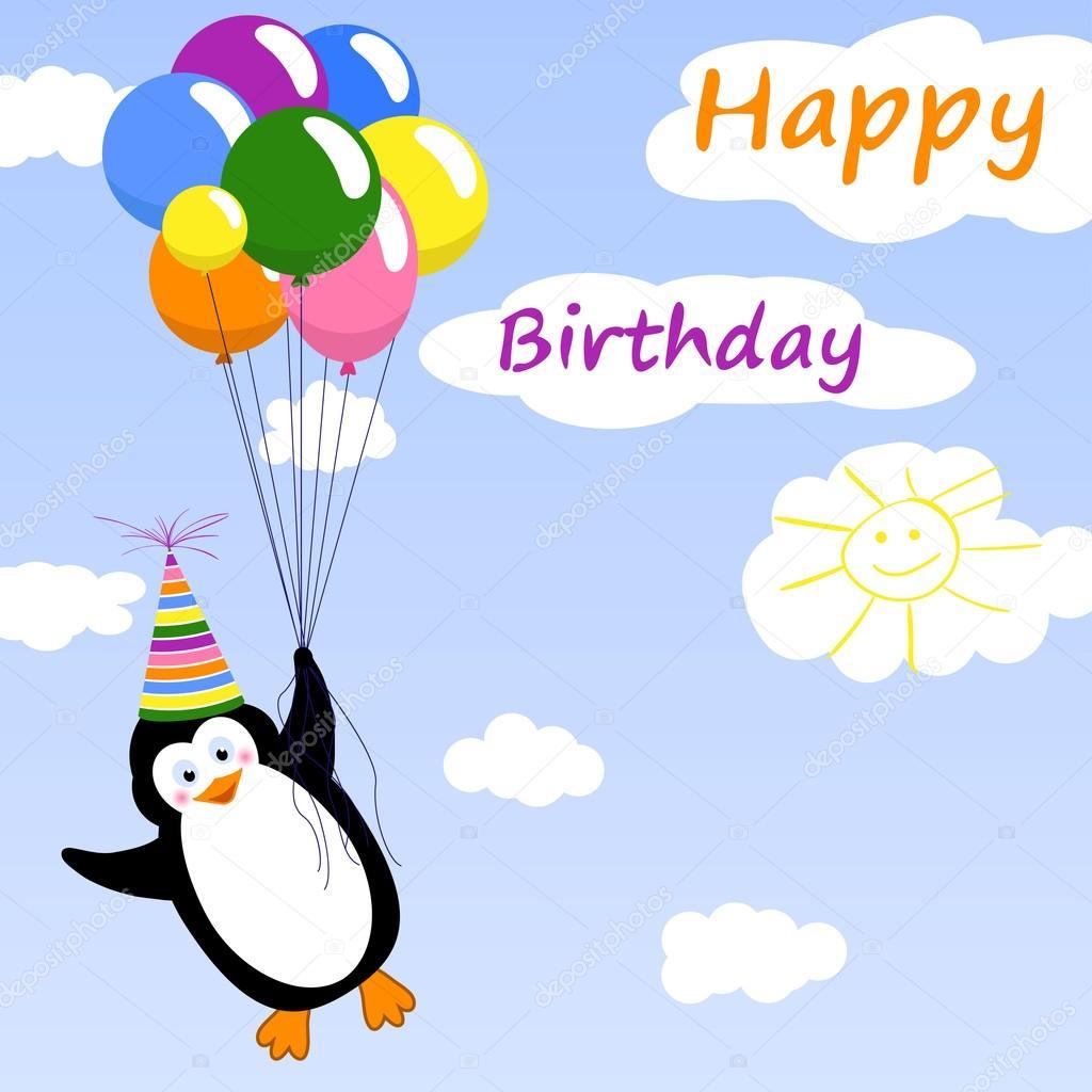 Geburtstag Grusskarte Mit Pinguin Stockvektor C Trutnieva 69421505