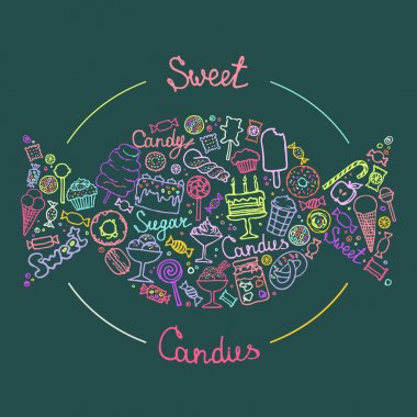 illustration of isolated candies set