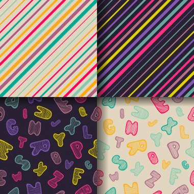 Set of four colorful seamless patterns.