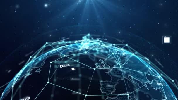 Krásná globální obchodní síť rotující ve vesmíru bezproblémové. Smyčková 3D animace abstraktních mřížek se změněnými čísly a textem. Vědecká koncepce. 4k Ultra HD 3840x2160.