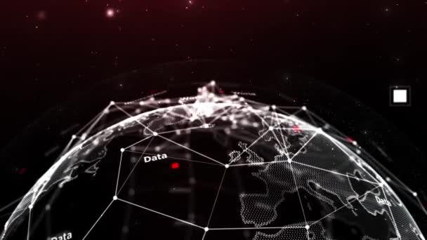 Schöne globale Business-Netzwerk rotiert im Weltraum nahtlos. Geschlungene 3D-Animation abstrakter Gitterkugeln mit wechselnden Zahlen und Texten. Wissenschaftliches Konzept. 4k Ultra HD 3840x2160.