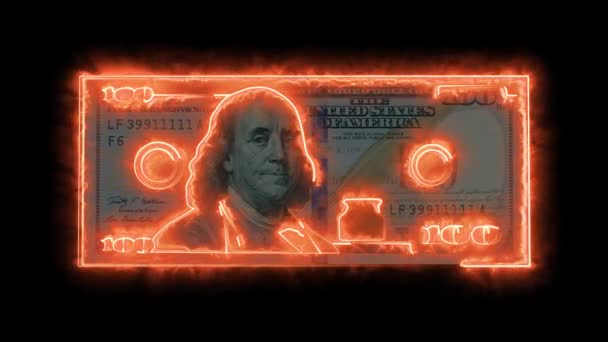Dolarová bankovka sestávající z ohnivých linií
