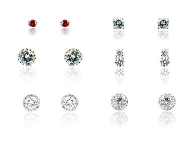 Set of six Pair of diamond earrings