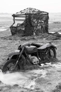 Old broken german motorcycle. WWII. Vintage