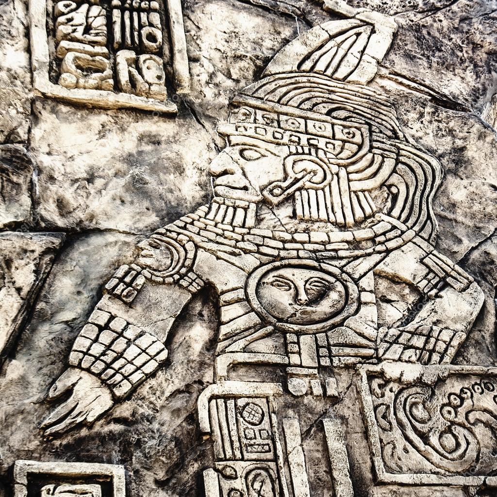 Ancient Mayan hieroglyphics in stone Stock Photo ArtofLife