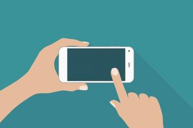 Hands holding smartphone (vector)