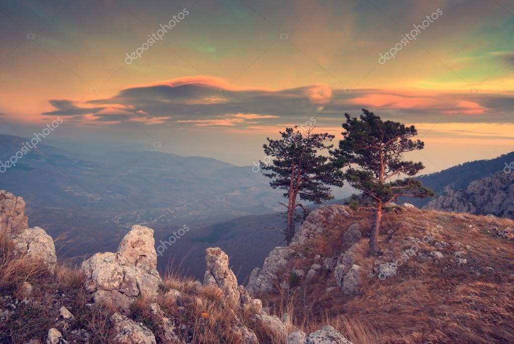 Red clouds in Crimea mountains