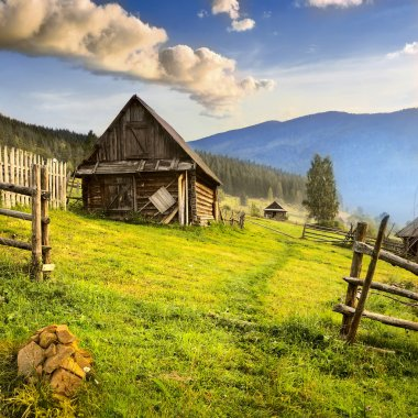 Mountain village in the Ukrainian Carpathians.