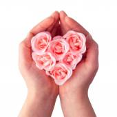 Photo Soap rose heart in hands