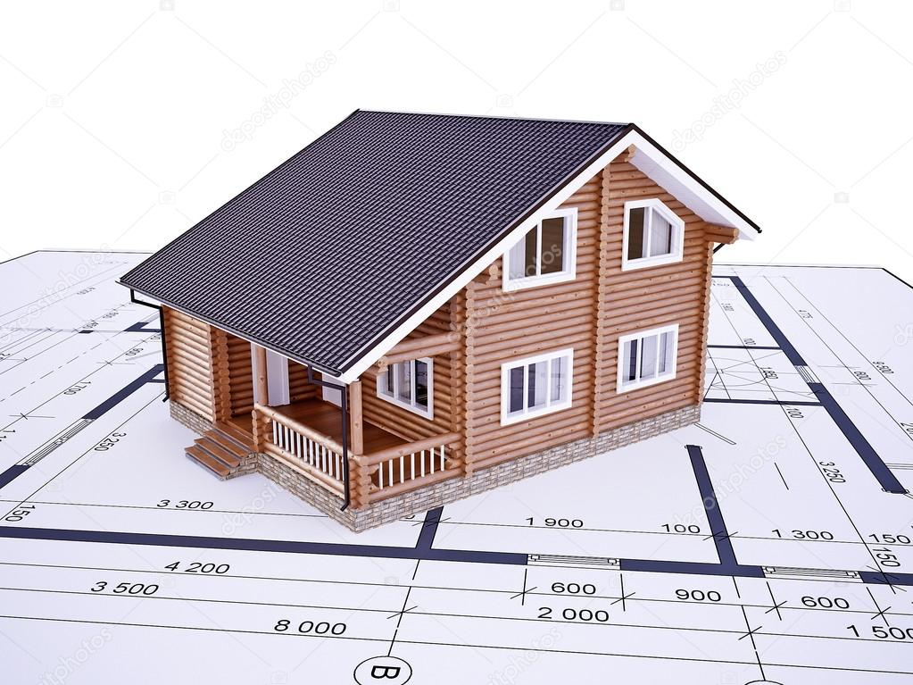 Wooden house from logs on a white background with blueprint stock wooden house from logs on a white background with blueprint stock photo malvernweather Image collections