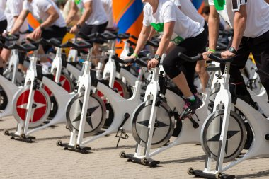 Stationary spinning bicycles outdoor