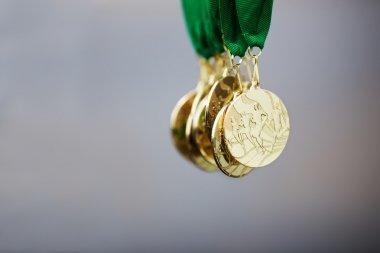 Golden running marathon race medals, award