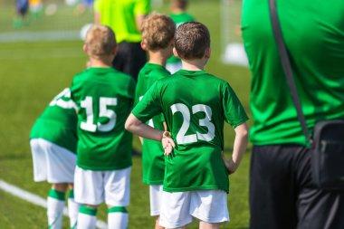 Soccer team; Boys With Football Coach; sport background