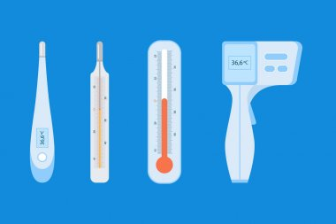 Flat design thermometer type pack Vector illustration. icon