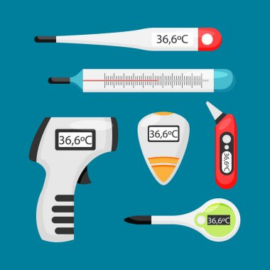 Flat thermometer types concept Vector illustration. icon