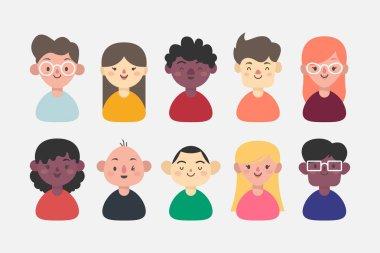 Pack of people avatars Vector illustration. icon