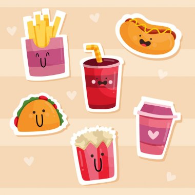 Drawn funny sticker pack Vector illustration. icon