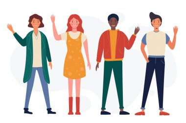 Young people waving hand pack Vector illustration. icon