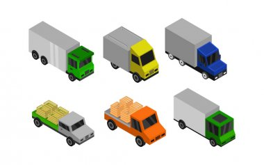 Isometric Truck Set Vector illustration. icon