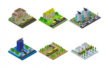 Isometric Buildings Set Vector illustration. icon
