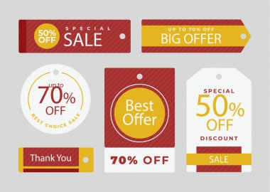 Flat design sale tags pack Vector illustration icon