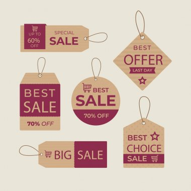 Pack of flat design sales tags Vector illustration icon